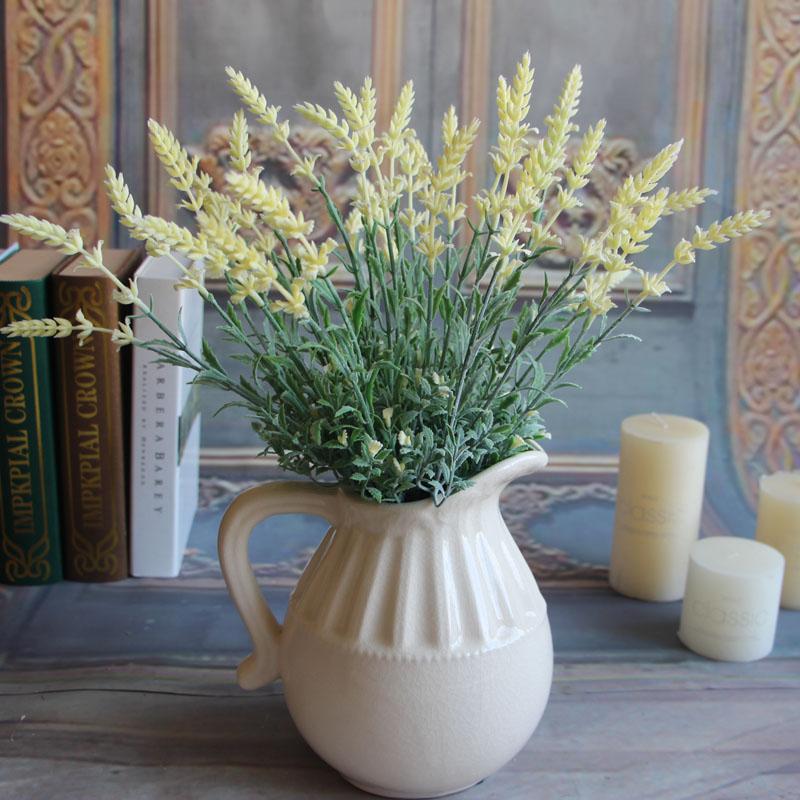 3FF9-Fresh-Green-Fake-Plants-Flower-Lavender-Leaves-Grass-Flowers-Arrangement
