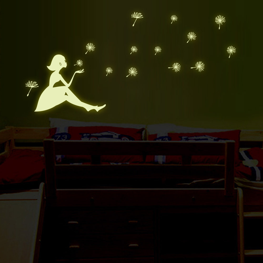 Glow In The Dark Removeable Wall Stickers Dandelion Girl Mural