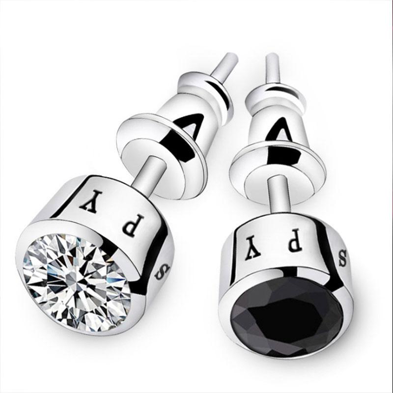 1248-Pair-Fashion-Individuality-Men-039-S-Diamond-Silver-Earrings-Ear-Stud-Gifts