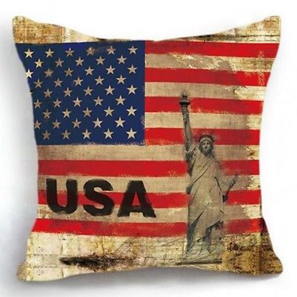 19DF-USA-Map-Flag-Stars-Art-Decoration-Car-Sofa-Home-Pillow-Case-Cushion-Cover