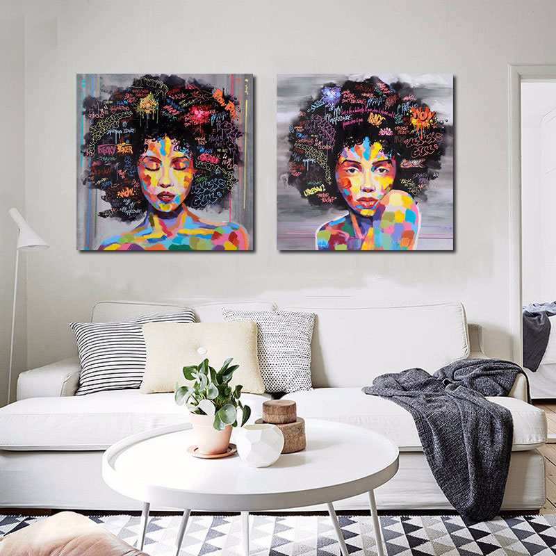 642F-2Pcs-set-African-Women-Face-Oil-Paintin-Wall-Mordern-Home-Print-Canvas
