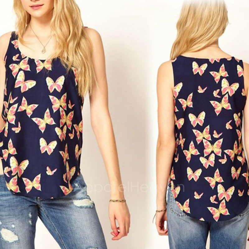4B4E-Fashion-1PC-Girls-039-Butterfly-Print-Sleeveless-Tank-Top-Crew-Vest-Cheap