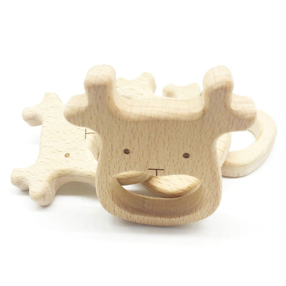 99B8-Infants-Baby-Wooden-Teether-Teething-Toy-Teeth-Development-Natural-Gifts