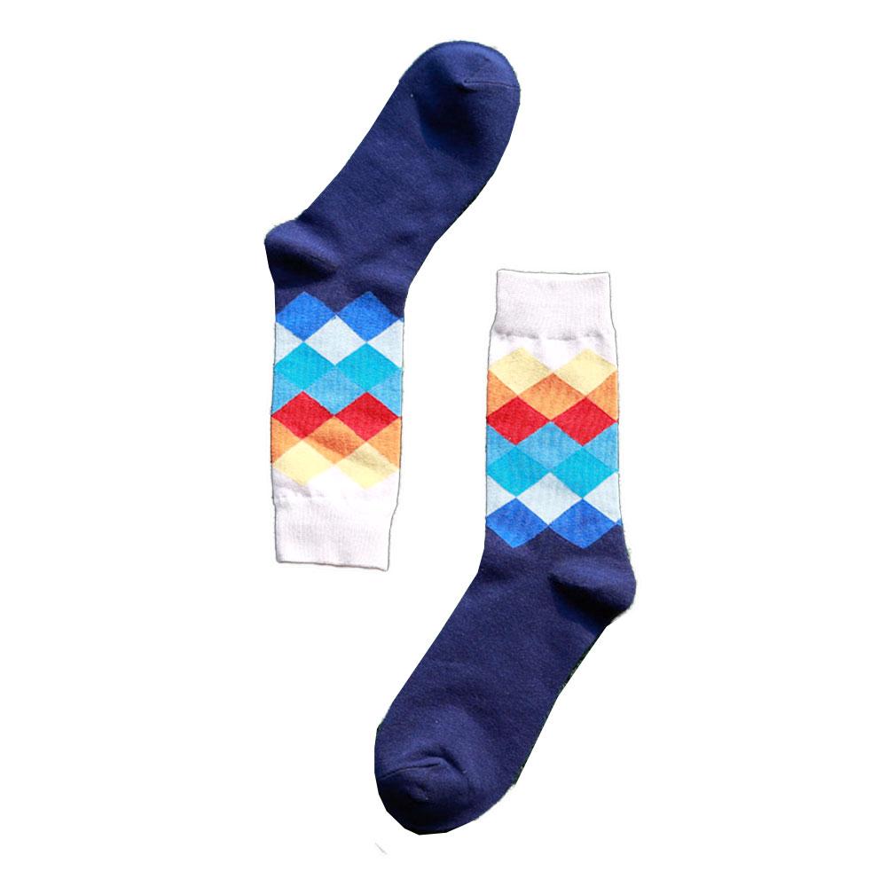 5C06-1Pair-Fashion-New-Mens-Cotton-Happy-Socks-Colorful-Diamond-Casual-Socks-S