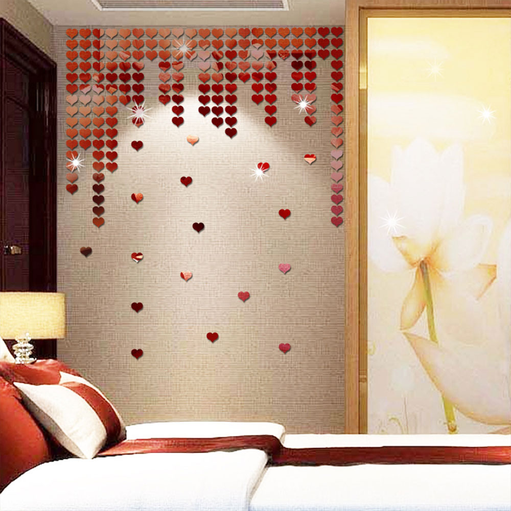27C2-50pcs-set-Heart-Shape-Mirror-Wall-Stickers-Decal-Art-Home-Room-Decor-DIY