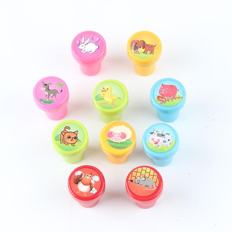 A6F4-10Pcs-Set-Stamps-Kids-Children-Toys-Animals-Fruit-Recognition-Training-New