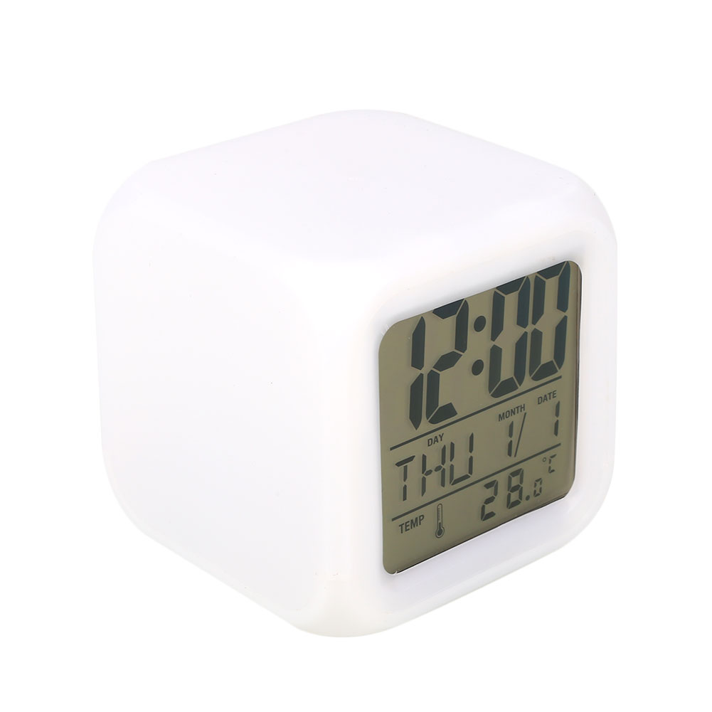 Date Desk Clock 7 LED Colors Changed Alarm Thermometer Clock Digital Glowing