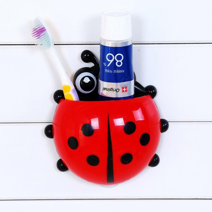 72E4-Ladybug-Designed-Bathroom-Sets-Cartoon-Wall-Suction-Hook-Toothbrush-Holder