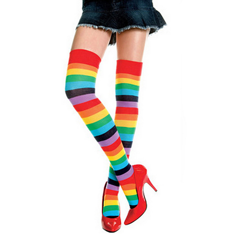 8B3B-Spring-Long-Sleeve-Fingerless-Arm-Gloves-Rainbow-Stockings-Socks-Beauty