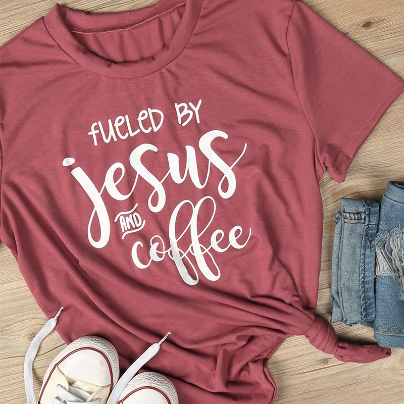 04FE-Womens-fueled-by-jesus-and-coffee-Letter-Print-Short-Sleeve-Ladies-Tee-Top