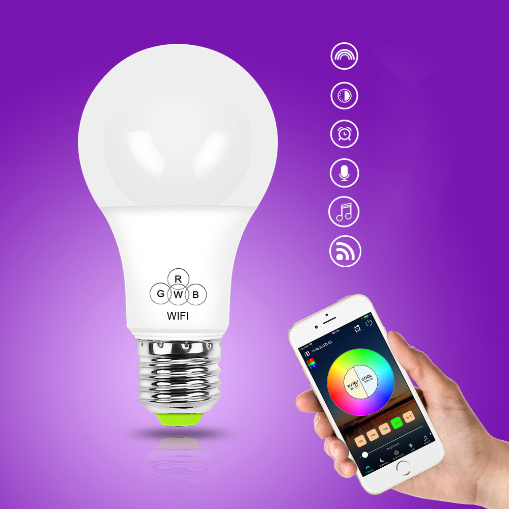 led lampe e27smart dimmbare wifi app fernbedienung rgb home ios pro ebay. Black Bedroom Furniture Sets. Home Design Ideas