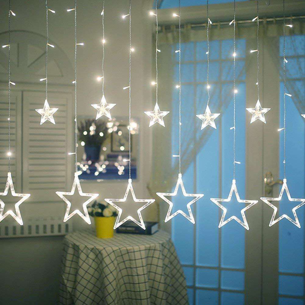 stern led lichtervorhang weihnachten party fenster deko lichter beleuchtung wei ebay. Black Bedroom Furniture Sets. Home Design Ideas