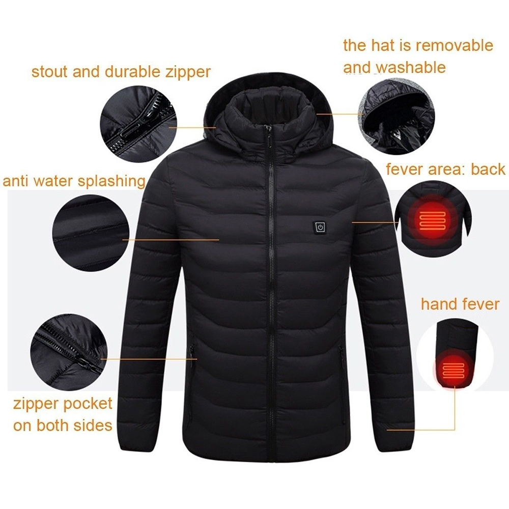 Battery Heated Clothing >> Mens Heated Coat Usb Electric Battery Heating Vest Winter Warm Up