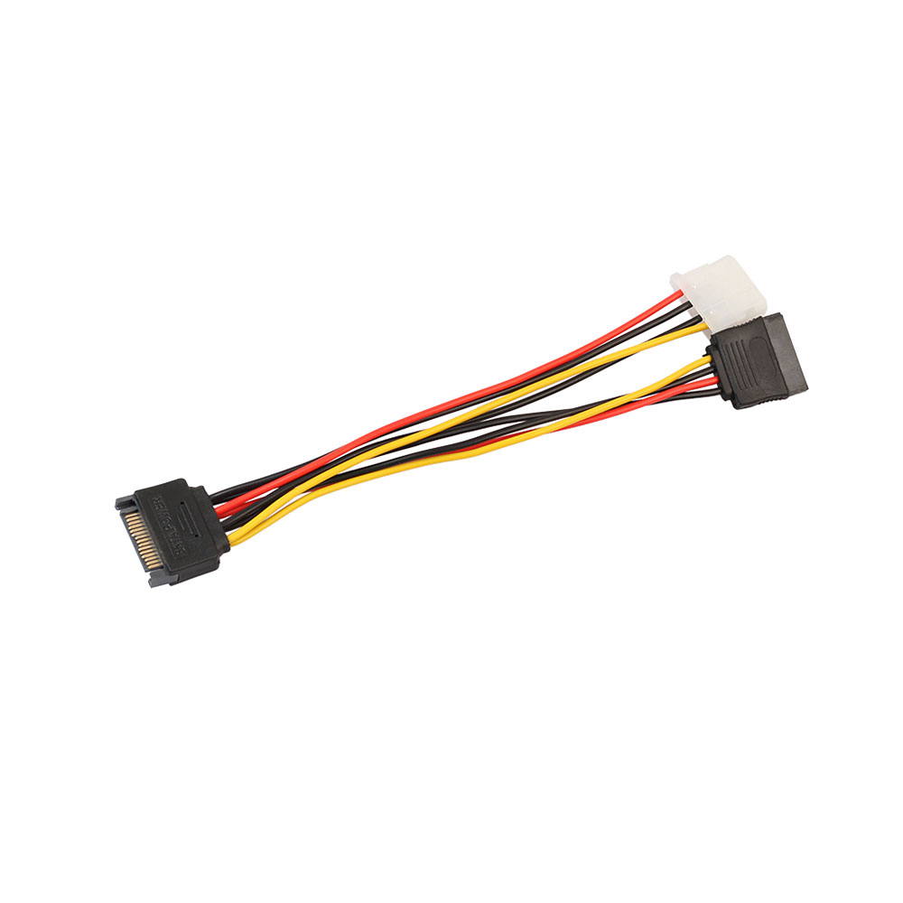 2 Pack Sata 15 Pin Male To 4Xsata 15 Pin Female Power Splitter Cables L= Lineso